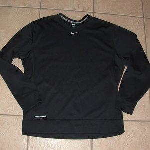 Mens Sz Large 42/44 Black NIKE Fleece Lined Shirt